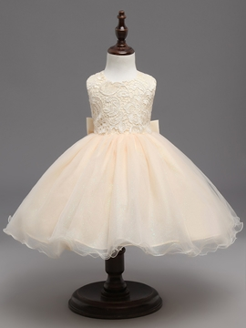 Sleeveless Lace Bowknot Knee Length Flower Girl Dress