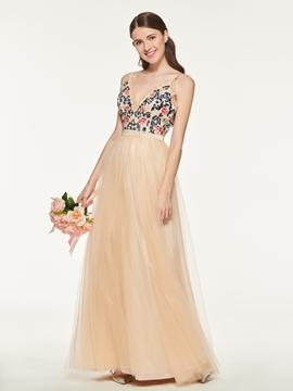 Spaghetti Straps A-Line Tulle Bridesmaid Dress