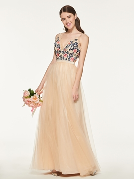 Spaghetti Straps A-Line Tulle Bridesmaid Dress