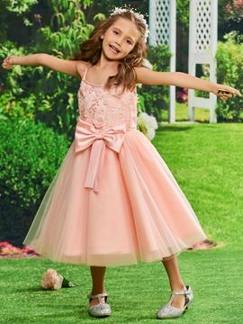 Spaghetti Straps Ball Gown Tea Length Flower Girl Party Dress