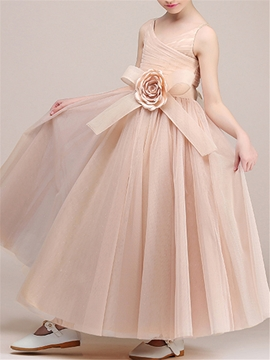 Straps A Line Floor Length Flower Girl Party Dress