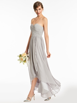 Sweetheart A Line High Low Bridesmaid Dress