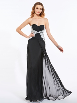 Sweetheart Appliques Pleats Sequins Floor-Length Long Prom Dress