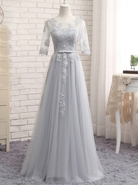 Tulle Applique Half Sleeves A-Line Long Bridesmaid Dress