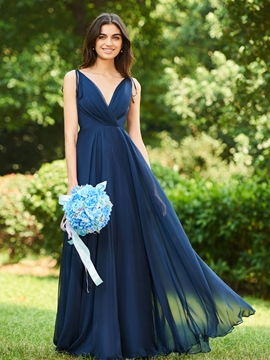 V-Neck A-Line Backless Bridesmaid Dress