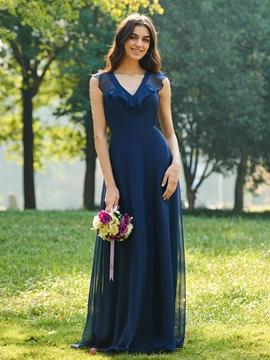 V-Neck A-Line Bridesmaid Dress