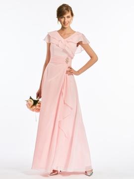 V Neck A Line Cap Sleeves Chiffon Long Bridesmaid Dress