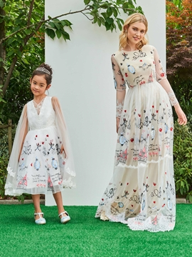V Neck A Line Knee Length Printed Flower Girl Party Dress