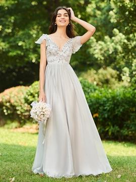 V Neck A Line Long Bridesmaid Dress