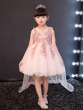 V Neck Appliques Ball Gown Short Flower Girl Party Dress