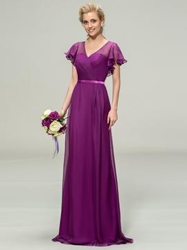 V-Neck Short Sleeve Chiffon Long Bridesmaid Dress