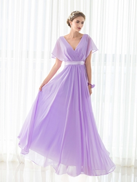 V Neck Short Sleeves A Line Long Bridesmaid Dress