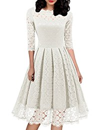 1950s Vintage Floral Lace Half Sleeve Cocktail Party Casual Swing Dress 595