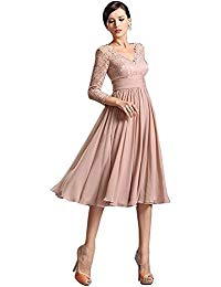 3-4 Sleeve V-Neck Mother of The Bride Dress Lace Appliques
