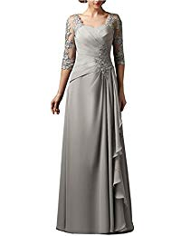 3-4 Sleeves Chiffon Lace Mother of The Bride Dress Plus Size Elegant Groom Mother Dresses Wedding