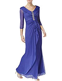 3-4 Sleeves Ruched Mother of The Bride Dress