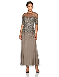 Beaded Illusion Gown with Sweetheart Neckline Petite