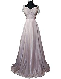 Beaded Short Sleeve Pleated Mother of Bride Evening Prom Dress