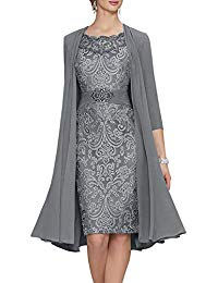 Chiffon Lace Mother of The Bride Dress with Jacket A-line Short Evening Gown