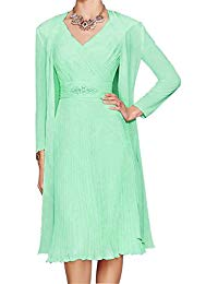 H.S.D A Line V Neck Short Chiffon Mother of The Bride Dress With Jacket