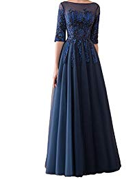 Half Sleeve Beaded Mother of The Bride Dresses 2018 Long Formal Prom Gown Y26617