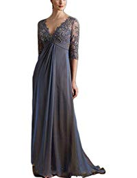Half Sleeve Mother Of The Bride Groom Dress With V Neck Appliques Lace Formal Dress