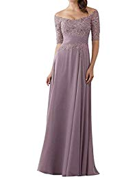 Half Sleeves Appliques Wedding Guest Bridesmaid Dresses Beaded Long Mother of The Bride Dresses UG091