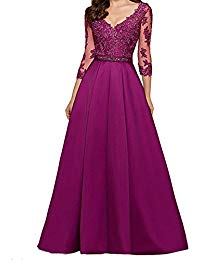 Lace Long Appliqued Evening Dress A-line 3-4 Sleeve Wedding Party Gown