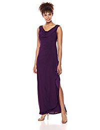Long Dress with Beaded Shoulders and Cowl Neckline (Petite and Regular Sizes)