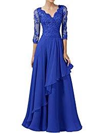 Long Lace Applique Prom Evening Dresses V Neck 3-4 Sleeve Mother of Bride Dresses