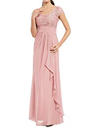 Long Mother The Bride Dresses Lace Chiffon Formal Evening Party Gown Cap Sleeves