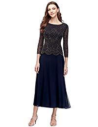 Long-Sleeve Mesh Mother of Bride-Groom Dress with Metallic Beading Style 870X