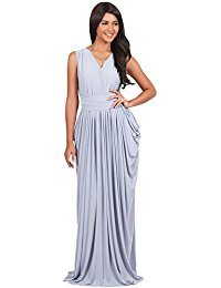 Long Sleeveless V-Neck Draped Prom Bridesmaids Gown Maxi Dress