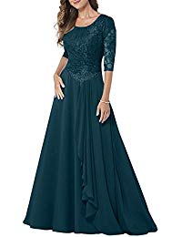 Modest Lace Half Sleeves Mother of Bride Dresses Chiffon Floor Length Formal Evening Gown