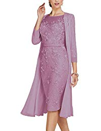 Newdeve Lace Mother of The Bride Dresses Tea Length Sheath 3-4 Sleeves with Chiffon Jacket