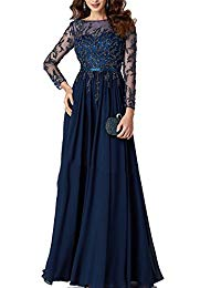 Newdeve Mother Of Bride Floral Embroidery Sequins Tulle Chiffon Dark Blue Long Evening Dress