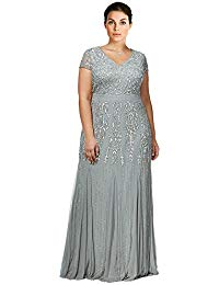 Plus Size Beaded V-Neck Evening Gown Dress