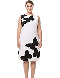 Plus Size Butterfly Printed Sleeveless Plus Size Dress - Knee Length Casual and Work Dress
