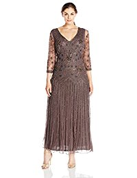 Plus-Size Long Three-Quarter-Sleeve Double-V Beaded Dress