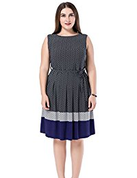 Plus Size Printed Chevron Border Sleeveless Dress - Knee Length Casual Party and Work Dress
