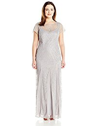 Plus Size Short Sleeve Fit and Flare Long Gown All Over Beading