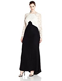 Plus Size Two-Tone Lace Longsleeve Gown