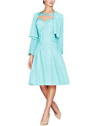 Tea Length Lace Chiffon Mother of The Bride Dresses Two Pieces with Jacket