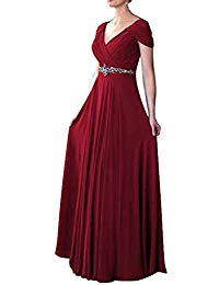 V Neck Cap Sleeves Mother Of Bride Dress T260LF