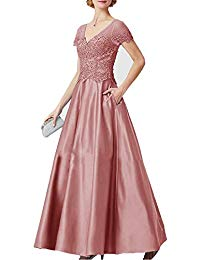 V Neck Lace Satin Mother of The Bride Dresses Appliques Empire Waist Evening Prom Dresses with Pocket