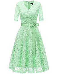 1-2 Sleeve V-Neck Floral Lace Cocktail Party Wrap Dress with Belt
