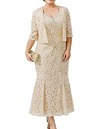 2 Pieces Champagne Lace Mother of The Bride Dresses with Jackets Plus Size