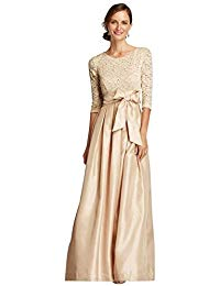 3-4 Shimmer Lace Sleeve Mother of Bride-Groom Dress with Shantung Skirt Style.