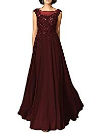 Beaded Applique Chiffon Evening Gowns Scoop Long Mother of The Bride Dresses