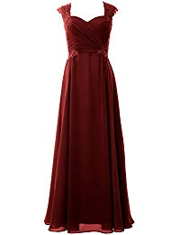 Cap Sleeve Chiffon Evening Gown Maxi Mother of The Bride Dress